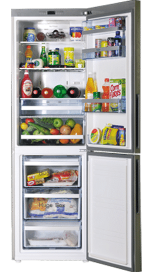 open-refrigerator-with-food-which-needs-refrigerator-repair